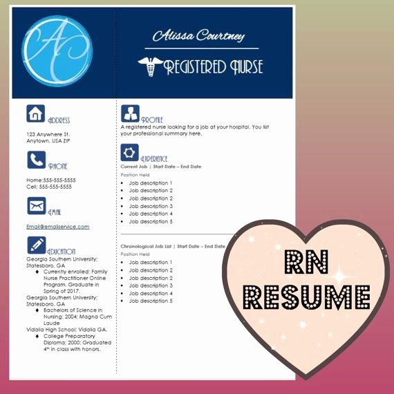 Nursing Resume Template Word New Resume Template Instant Word Document Download for