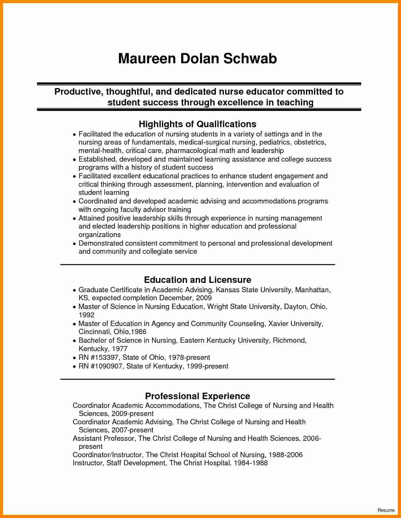 Nursing Resume Template Word Unique 9 Cv Nursing Student
