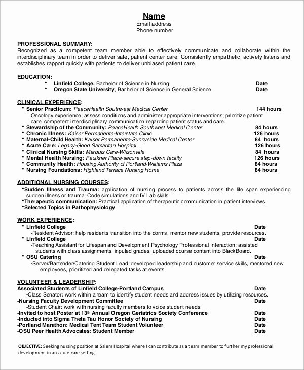 Nursing Student Resume Template Awesome 10 Nurse Resume Templates Pdf Doc