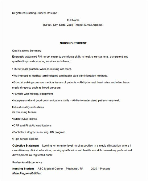 Nursing Student Resume Template Beautiful Nursing Student Resume Samples and Tips