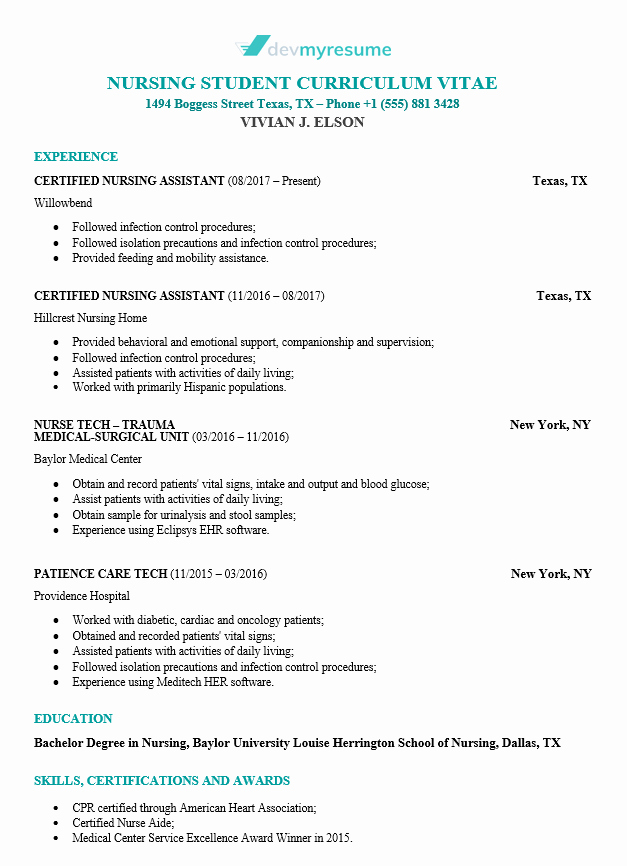 Nursing Student Resume Template Best Of Nursing Resume