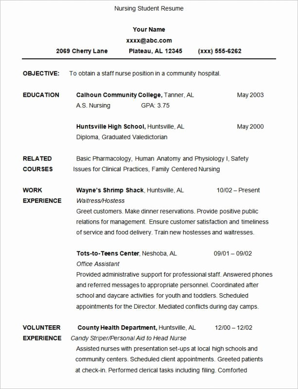 Nursing Student Resume Template Best Of Nursing Student Resume