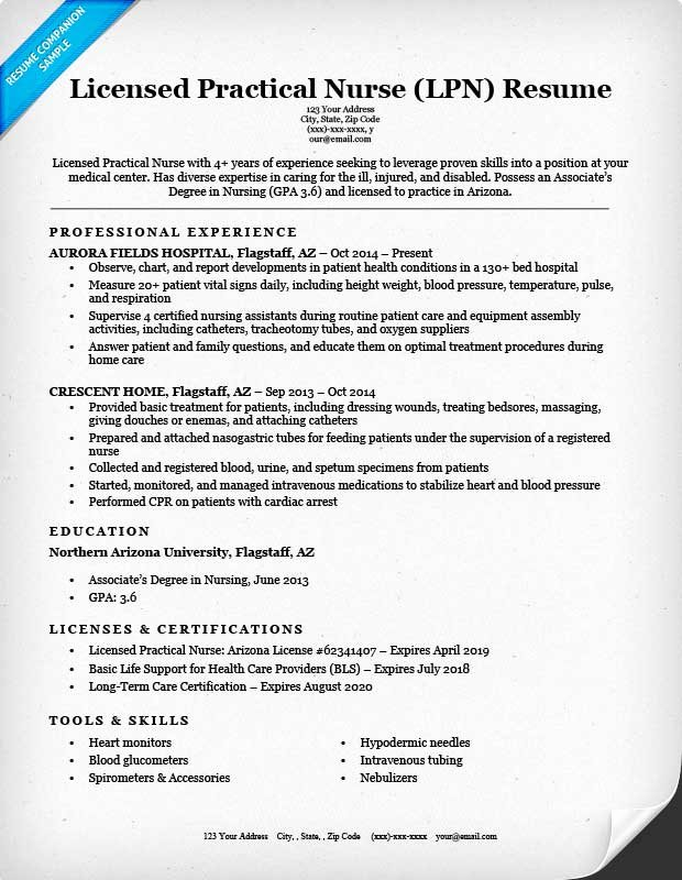 licensed practical nurse lpn resume sample