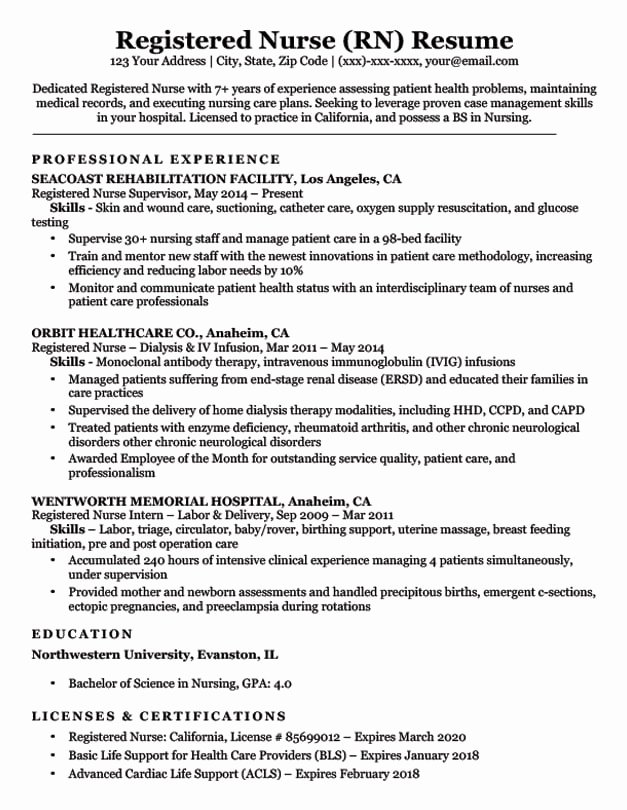 Nursing Student Resume Template Fresh Registered Nurse Rn Resume Sample & Tips