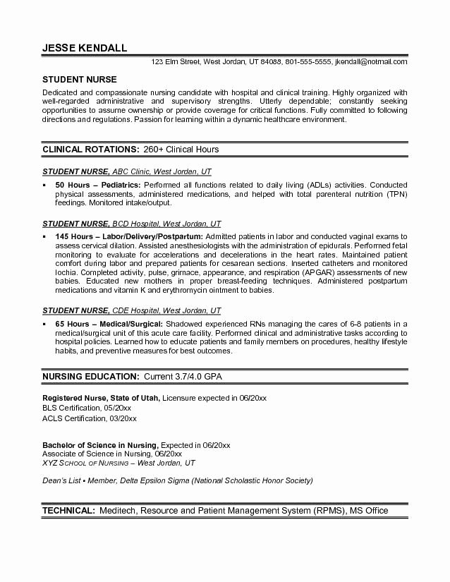 Nursing Student Resume Template Inspirational Example Student Nurse Resume Free Sample