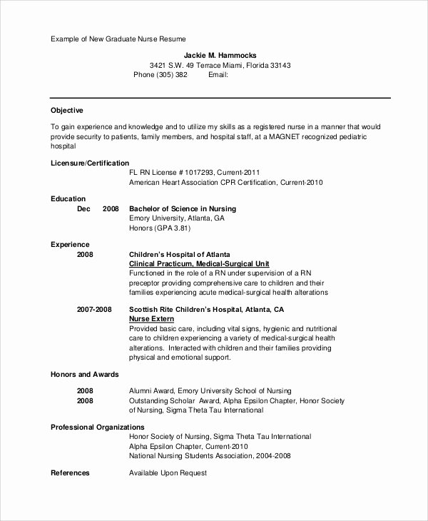 Nursing Student Resume Template Inspirational Sample Nursing Student Resume 8 Examples In Word Pdf