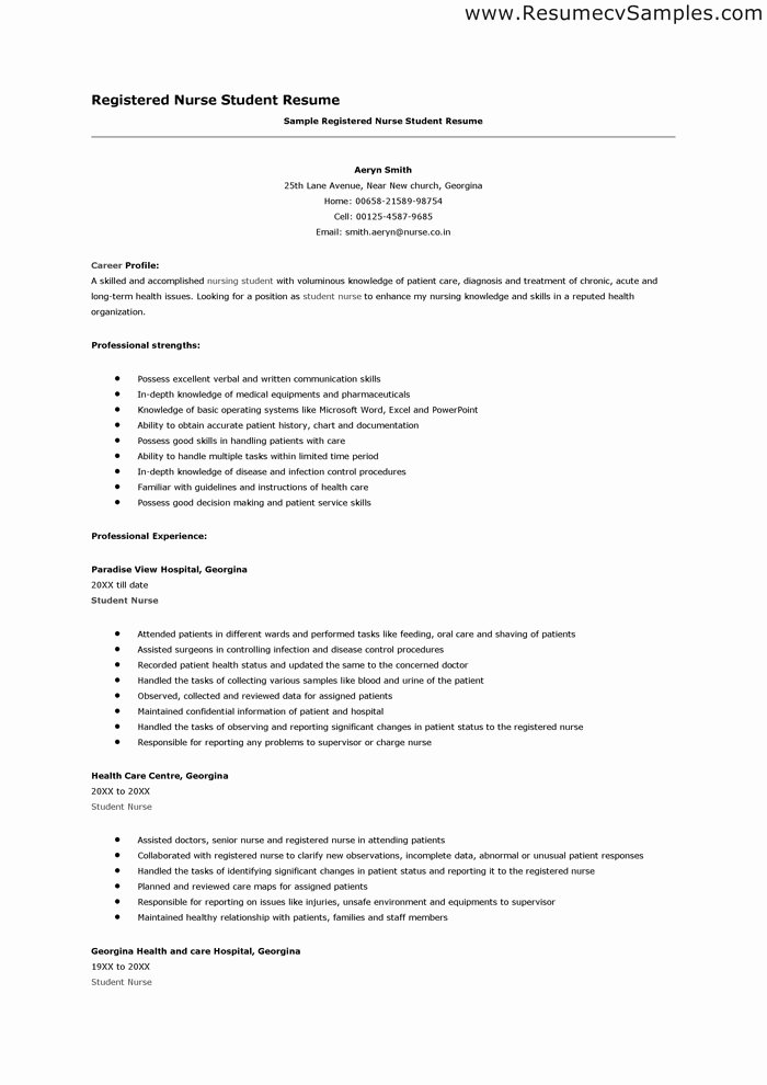 Nursing Student Resume Template Unique Nurse Student Resume