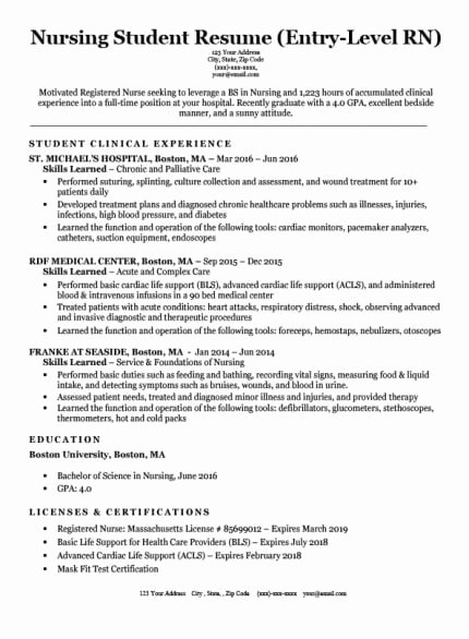 Nursing Student Resume Template Unique Registered Nurse Rn Resume Sample & Tips