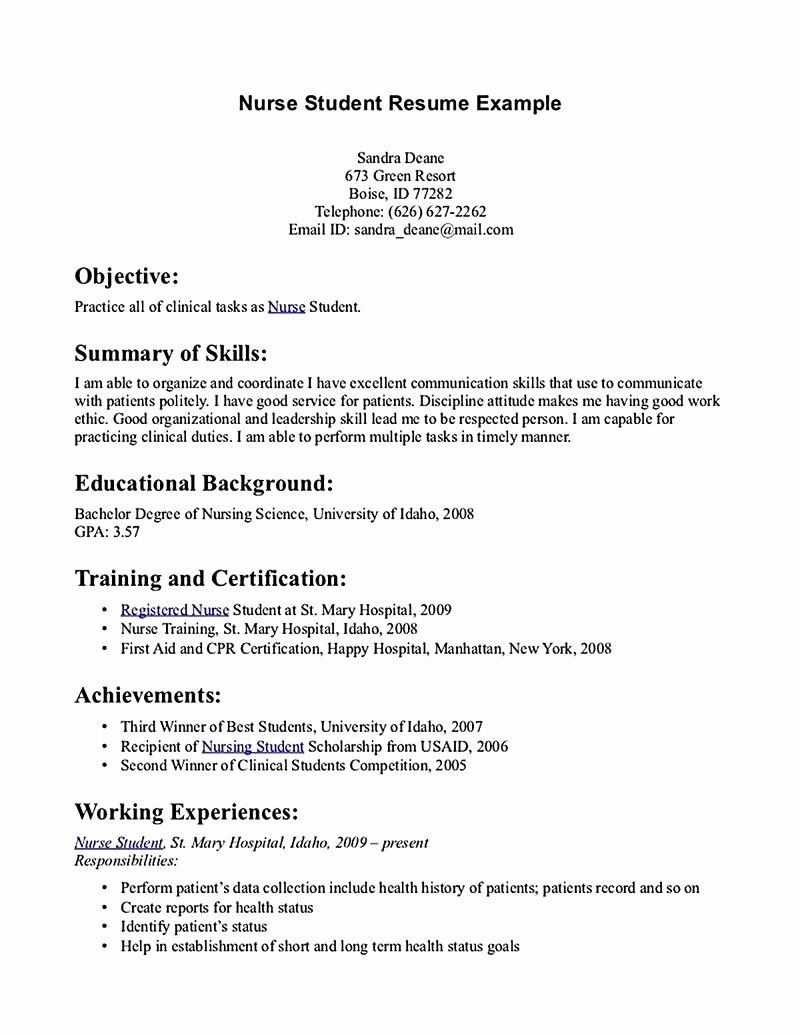 Nursing Student Resume Template Word Inspirational Nursing Student Resume Must Contains Relevant Skills