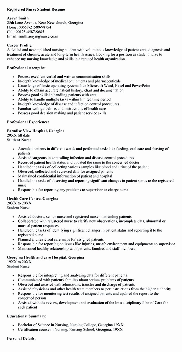 Nursing Student Resume Template Word Lovely Nursing Student Resume Must Contains Relevant Skills