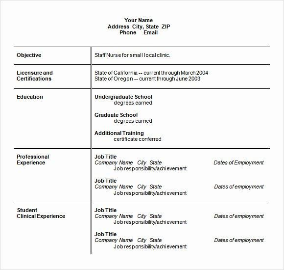 Nursing Student Resume Template Word Luxury Resume Objective Example Nursing Nursing Student Resume
