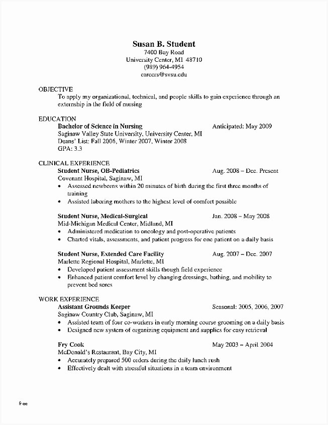Nursing Student Resume Templates Awesome 6 Cv Templates Academic Nduuxs