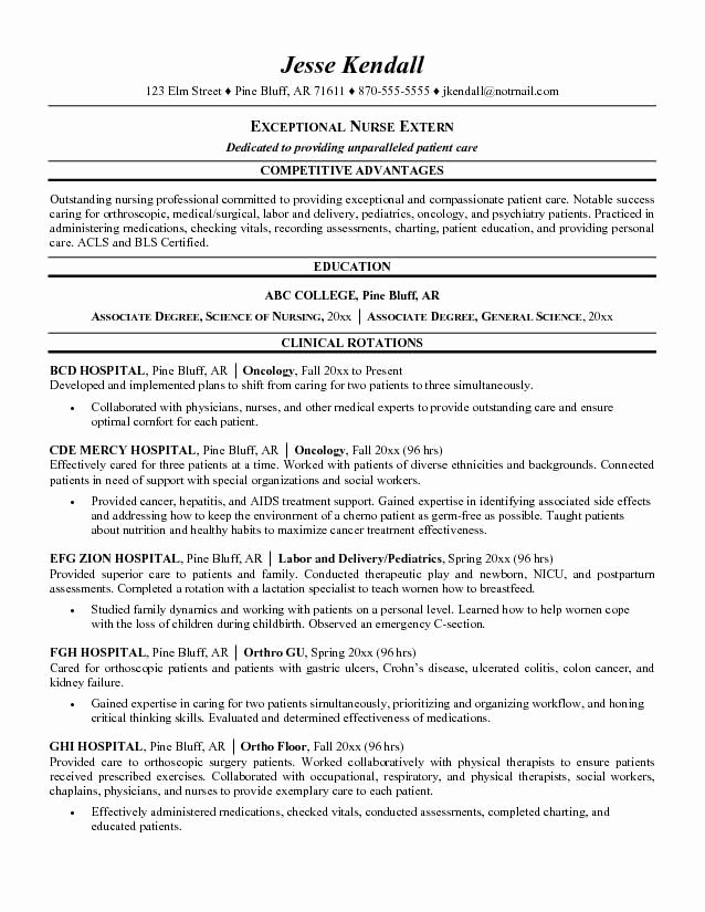 Nursing Student Resume Templates Best Of Nursing Student Resume Examples