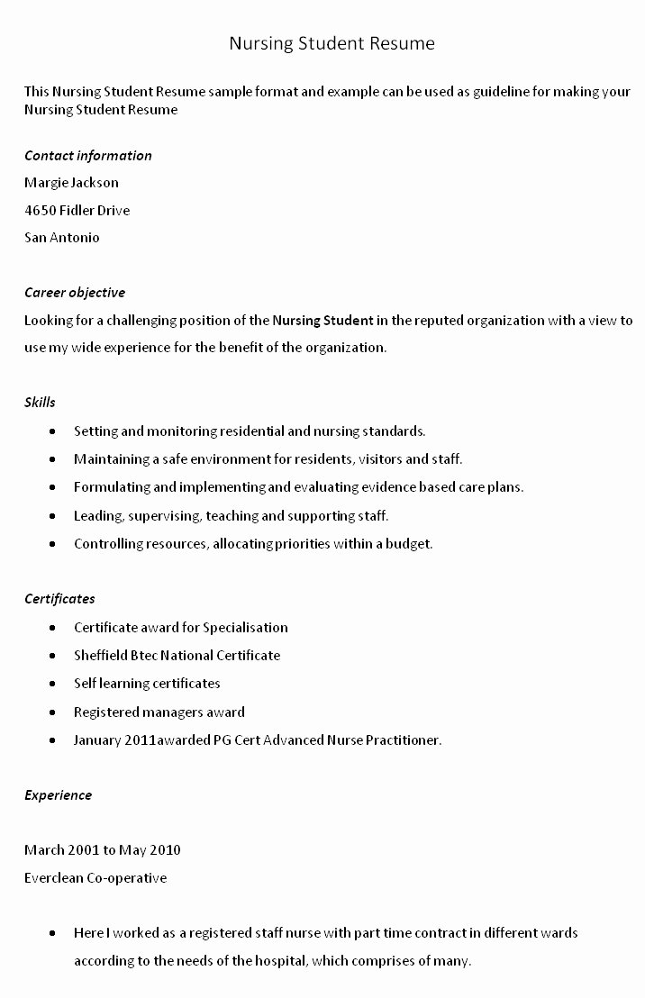 Nursing Student Resume Templates Best Of Sample Resume Cover Letter Nursing Student Fast Line
