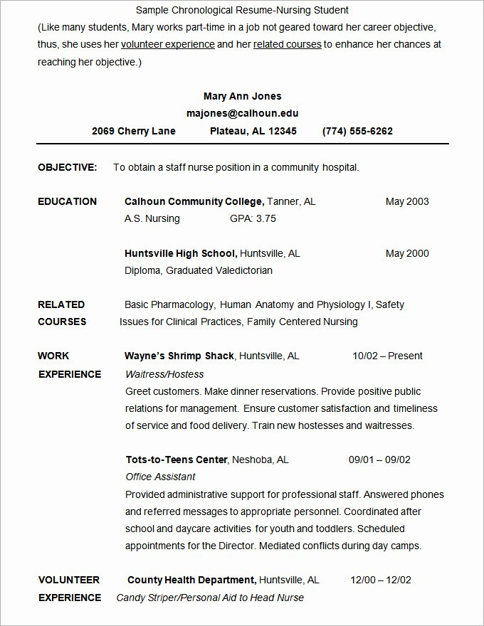 Nursing Student Resume Templates Inspirational Microsoft Word Resume Template 49 Free Samples