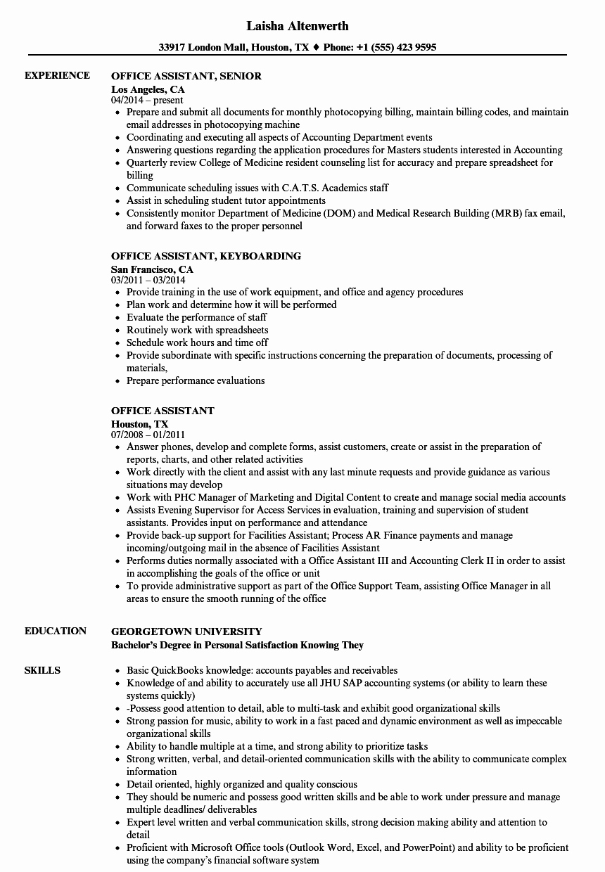 Office assistant Resume Template Awesome 10 Office assistant Job Description Sample
