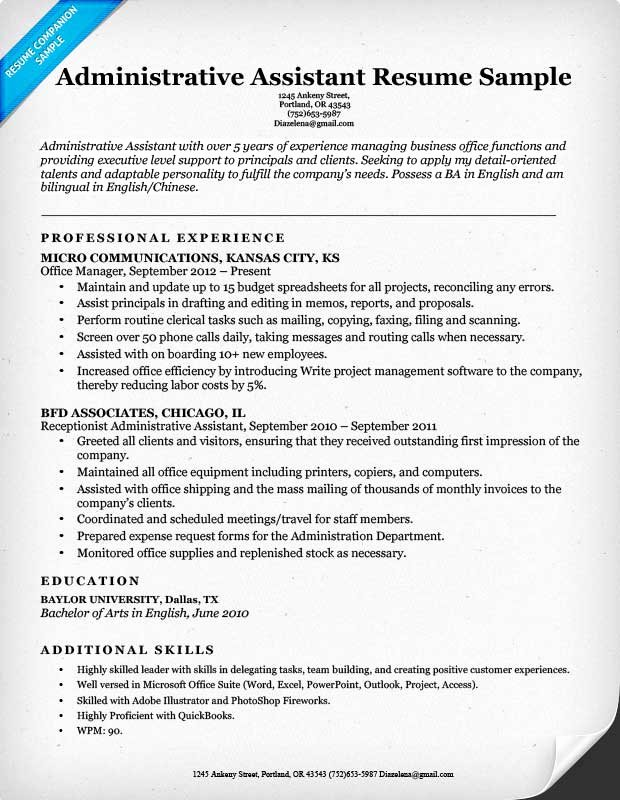 Office assistant Resume Template Awesome Administrative assistant Resume Example