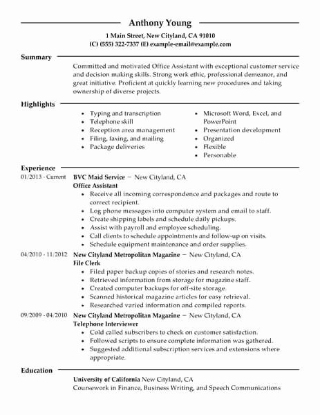 Office assistant Resume Template Beautiful Fice assistant Casual Wear