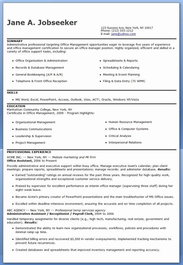 Office assistant Resume Template Beautiful Fice assistant Resume Sample
