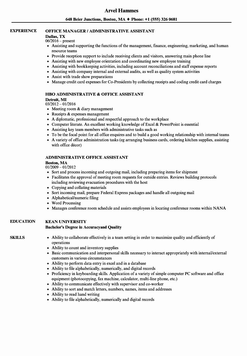 Office assistant Resume Template Elegant Administrative Fice assistant Resume Samples
