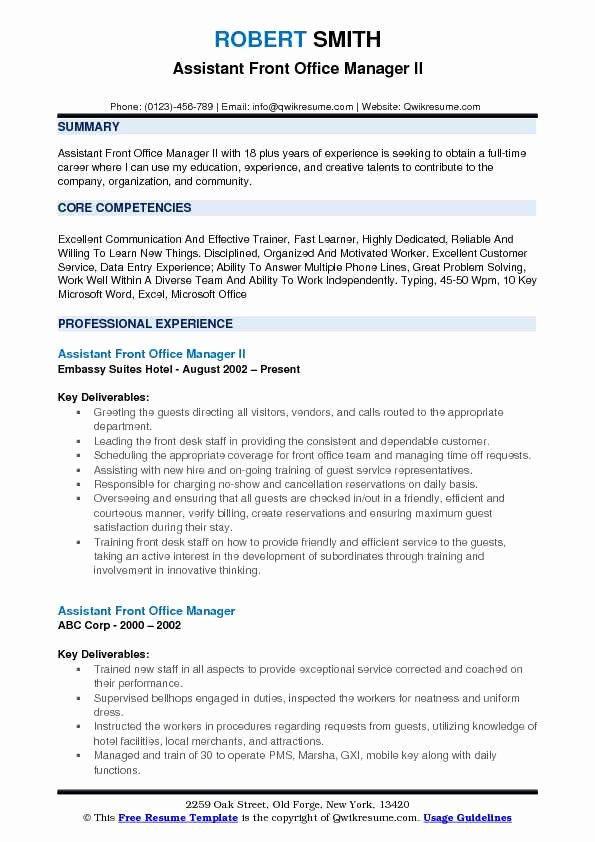Office assistant Resume Template Fresh assistant Front Fice Manager Resume Samples