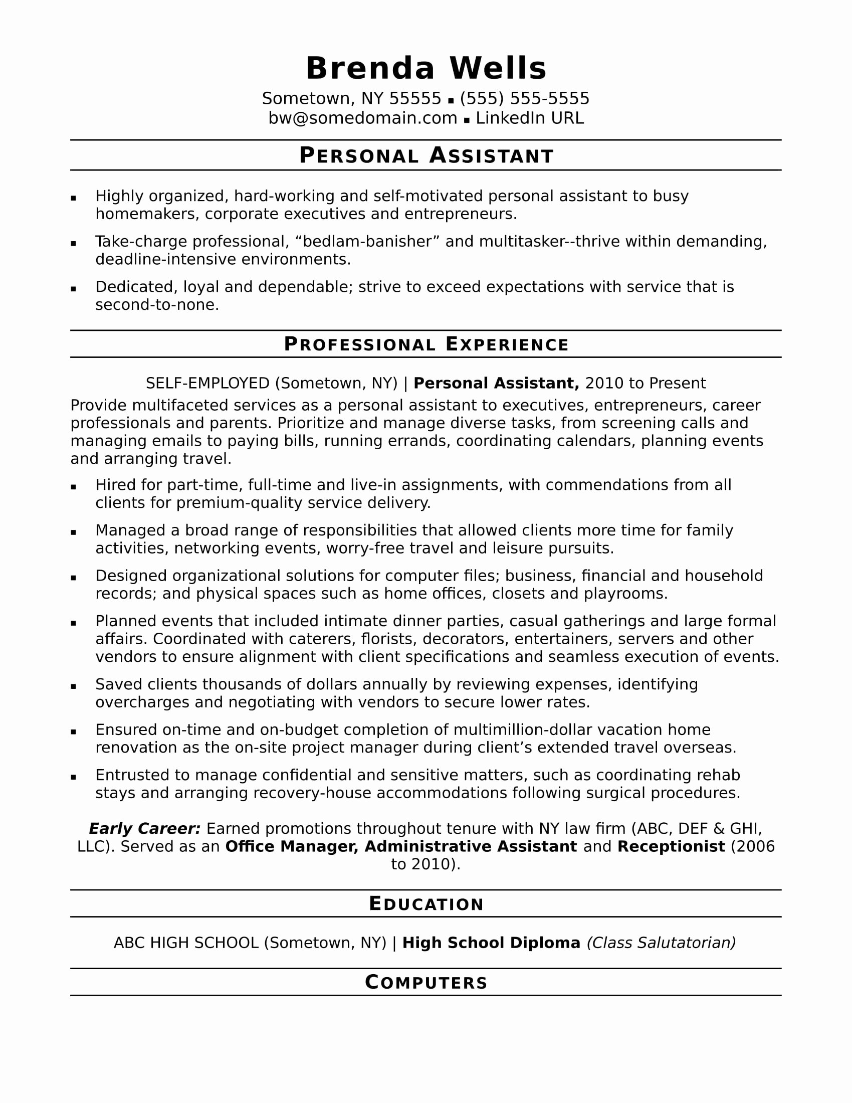 Office assistant Resume Template Fresh Personal assistant Resume Sample