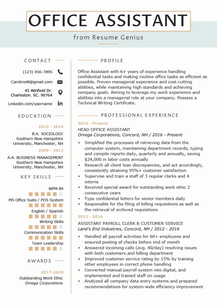 Office assistant Resume Template Lovely Fice assistant Resume Example & Writing Tips