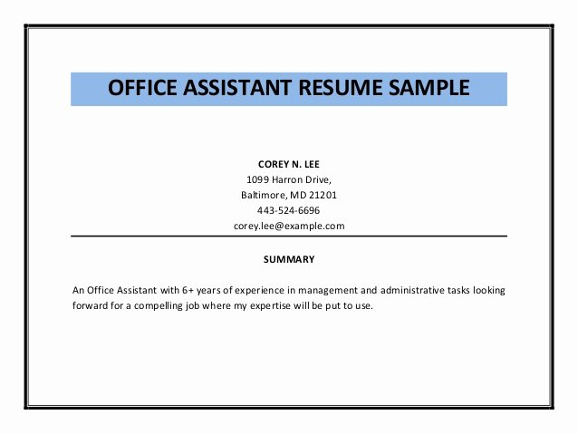 Office assistant Resume Template New Fice assistant Resume Sample Pdf