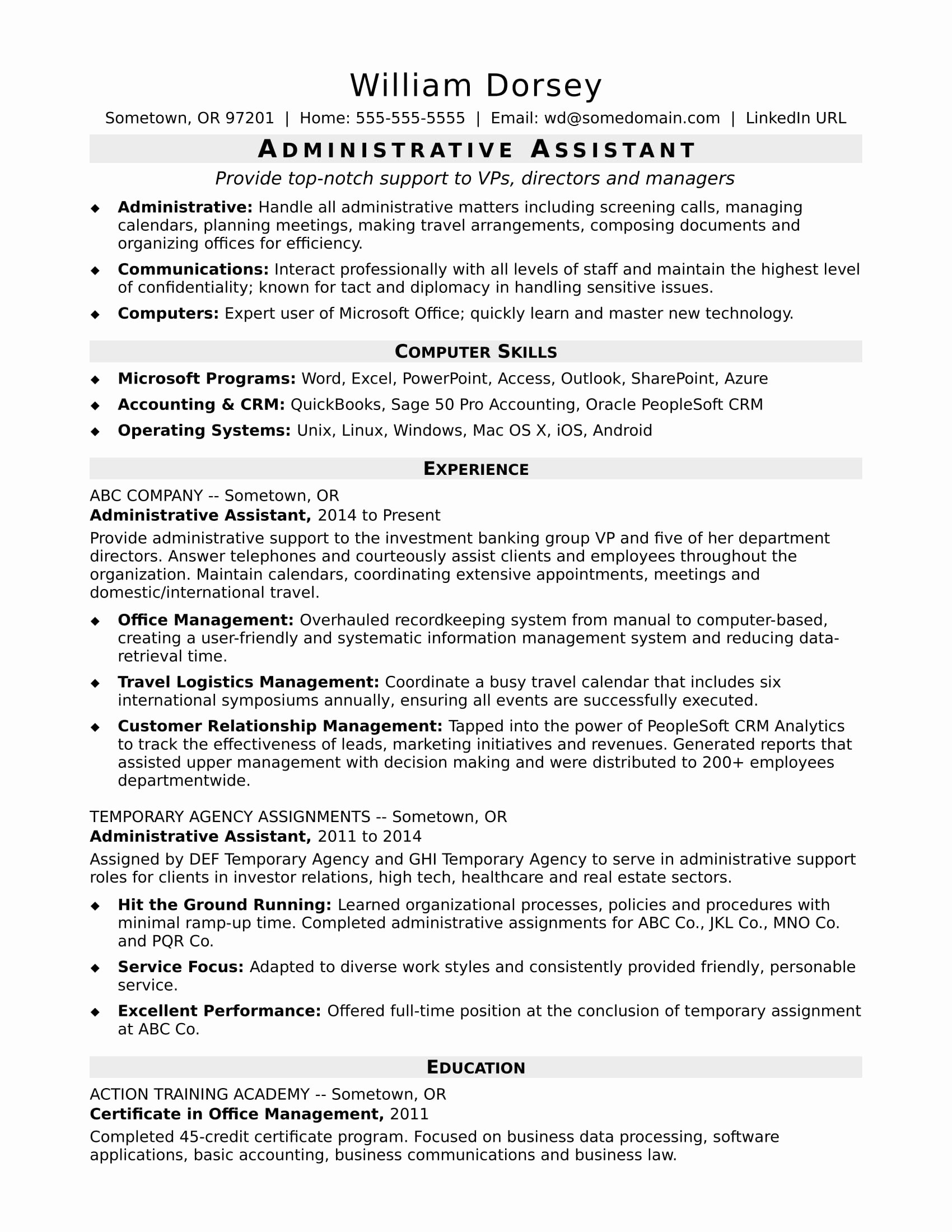 Office assistant Resume Template New Midlevel Administrative assistant Resume Sample