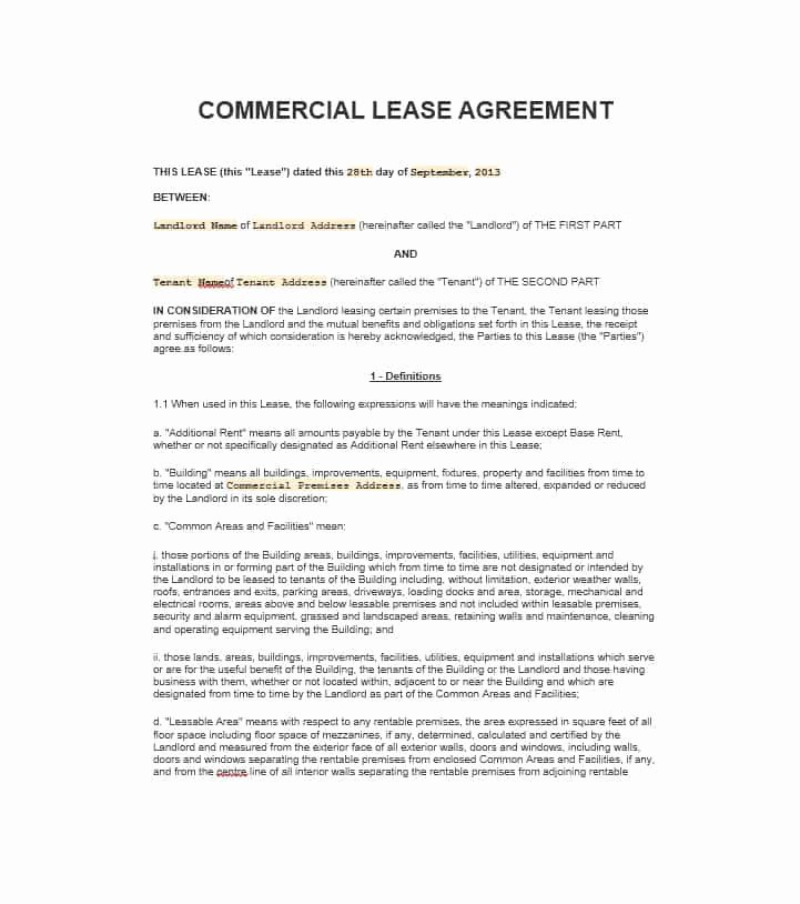 Office Lease Agreement Template Elegant Free Mercial Lease Agreement Templates Business