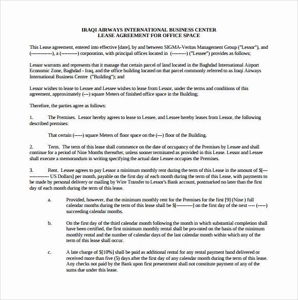 Office Lease Agreement Template Inspirational 10 Fice Lease Agreement Templates Free Sample