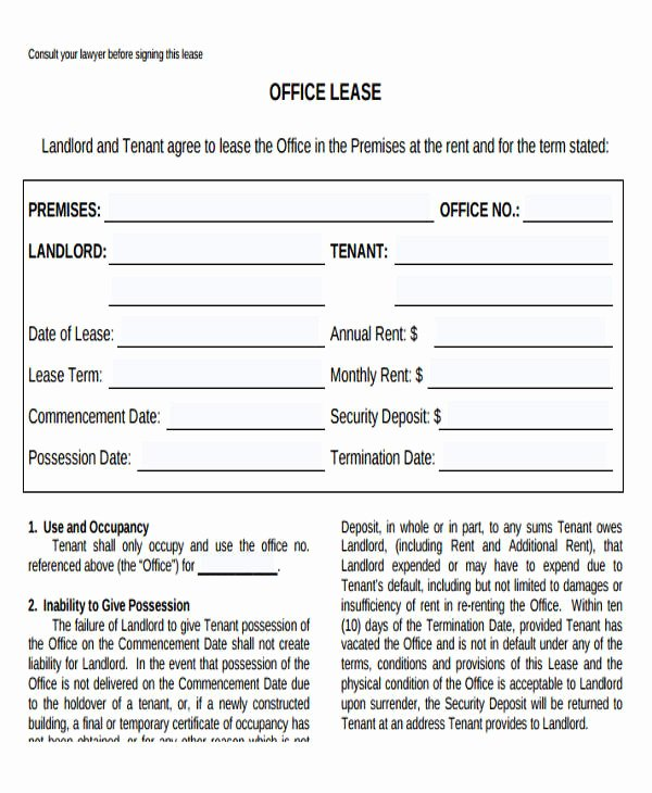 Office Lease Agreement Template Inspirational 35 Mercial Lease Agreement Samples Word Pdf Pages