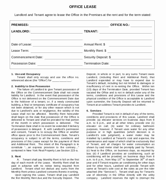 Office Lease Agreement Template Inspirational Lease Agreement Template – 15 Free Word Pdf Documents