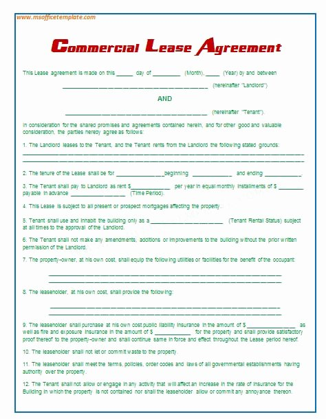 Office Lease Agreement Template Unique Fice Rental Agreement Template Free Printable Documents
