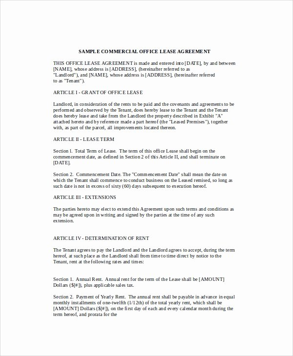 Office Lease Agreement Template Unique Sample Mercial Fice Lease Agreement 8 Documents In