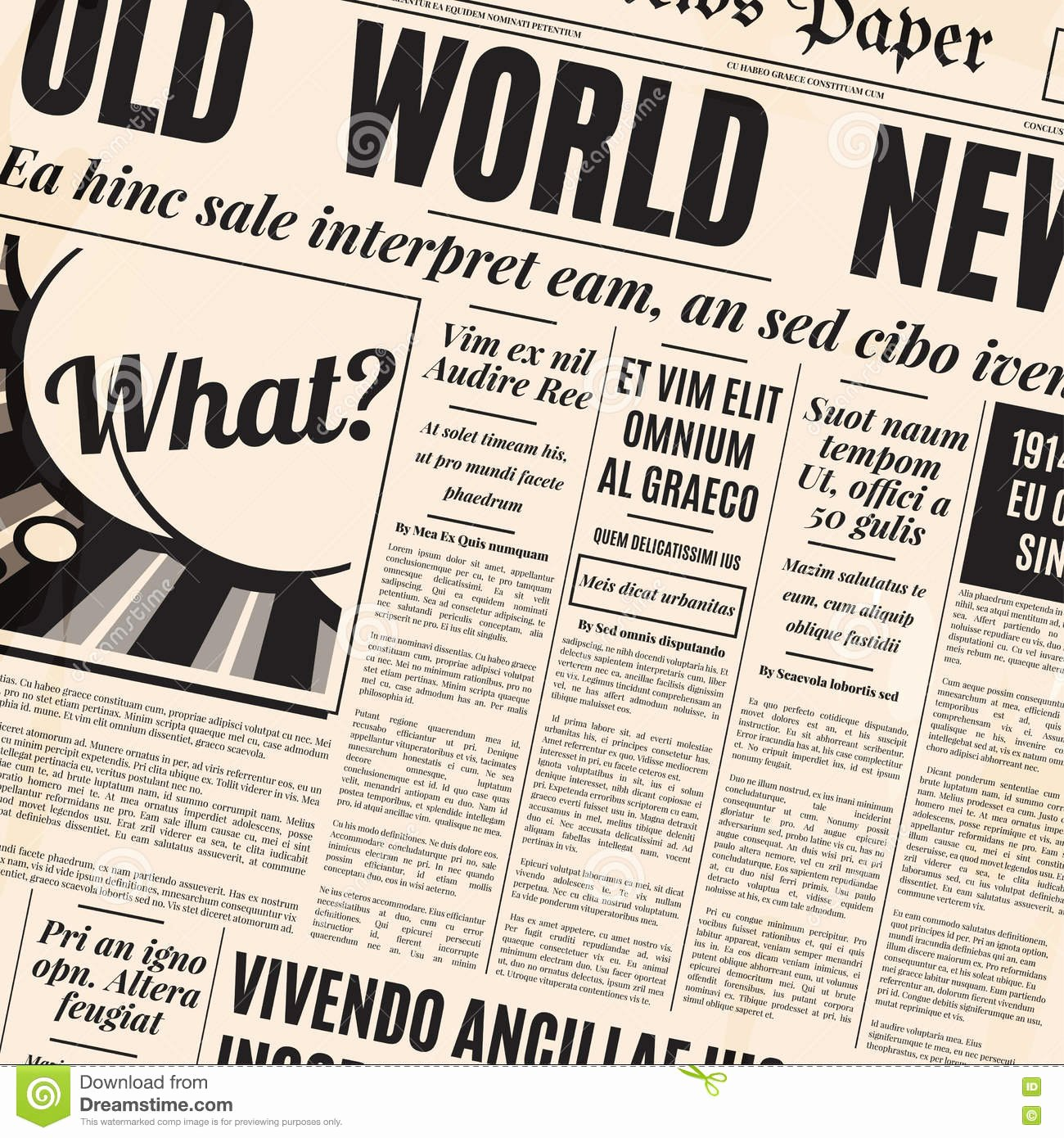 Old Time Newspaper Template Elegant Old Newspaper Design Vector Template Stock Vector