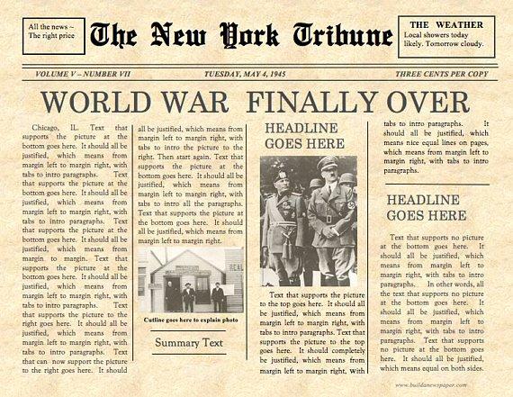 Old Time Newspaper Template Elegant Vintage Front Page Newspaper Template Instant Download for