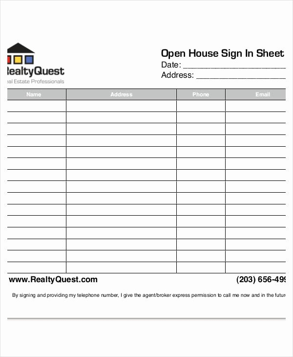 Open House Sign In Template Awesome Open House Sign In Sheet Templates 12 Free Pdf