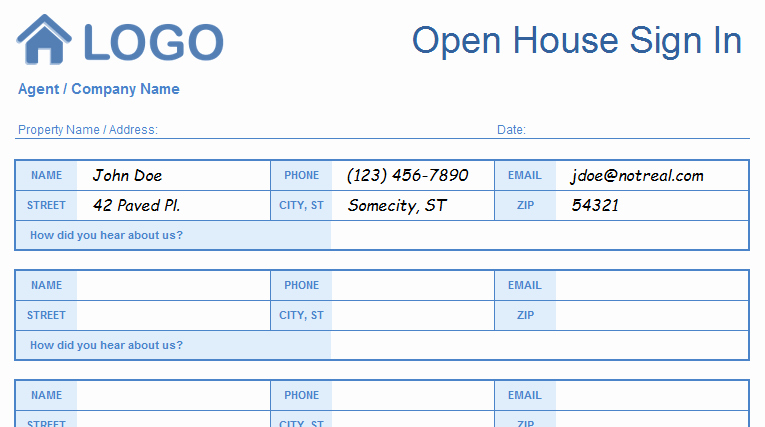 Open House Sign In Template Awesome Open House Sign In Sheet Templates Printable