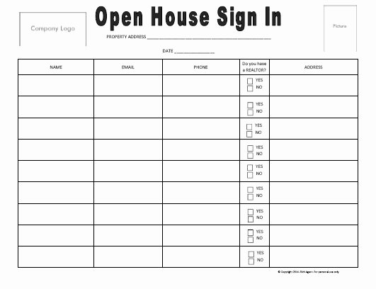 Open House Sign In Template Inspirational Open House Sign In Sheet Best Seller Real Estate forms