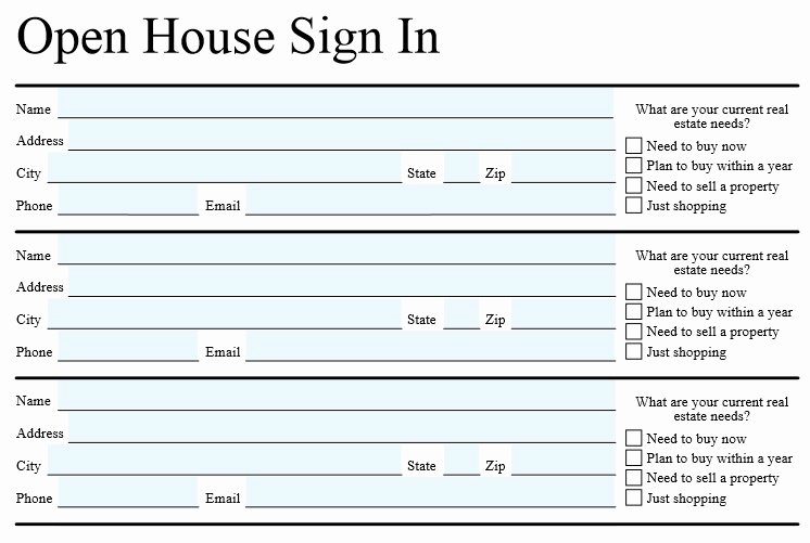 Open House Sign In Template Inspirational Open House Sign In Sheet Template for Real Estate Word