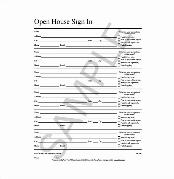 Open House Sign In Template New 18 Sign In Sheet Templates – Free Sample Example format