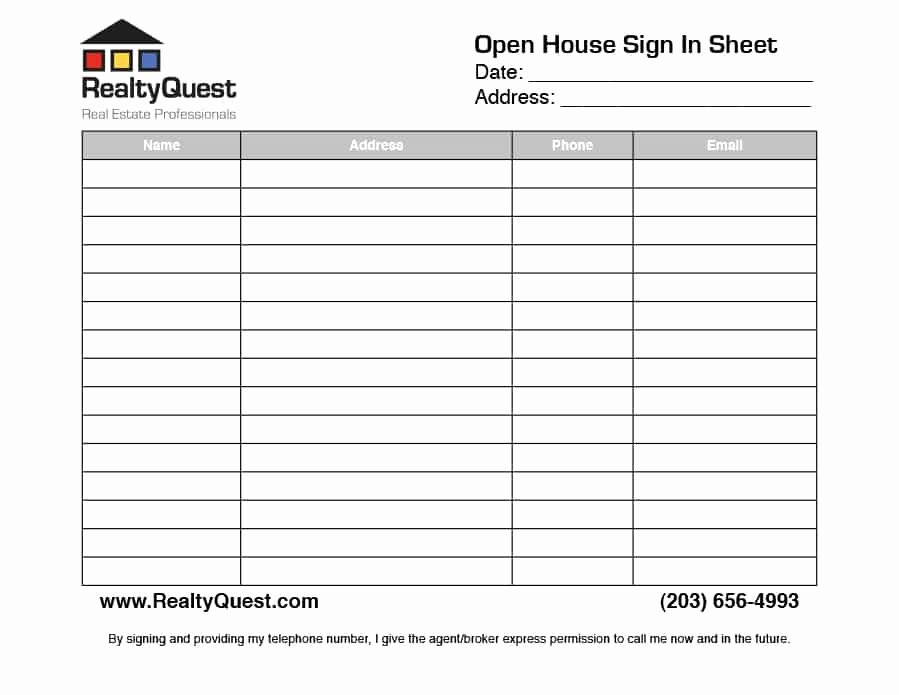 Open House Sign In Template Unique 30 Open House Sign In Sheet [pdf Word Excel] for Real
