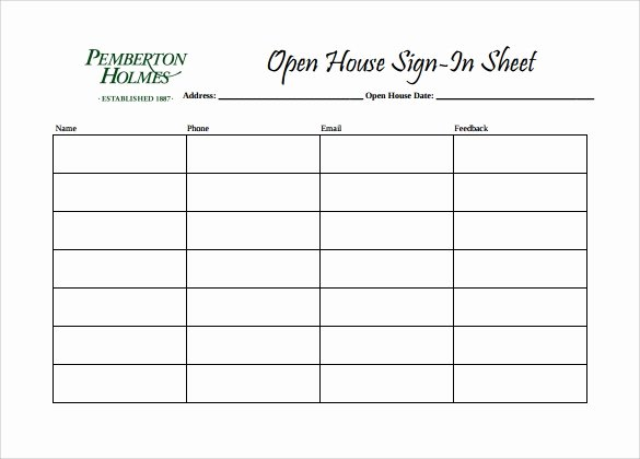Open House Sign In Template Unique Sample Open House Sign In Sheet 14 Documents In Pdf