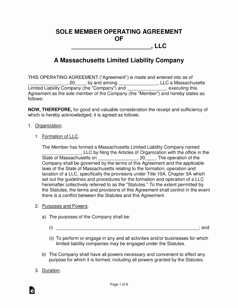 Operating Agreement Template Word Elegant Massachusetts Single Member Llc Operating Agreement form
