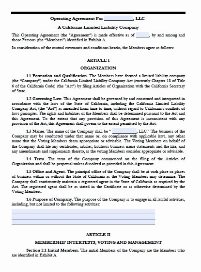 Operating Agreement Template Word Fresh Download California Llc Operating Agreement Templates