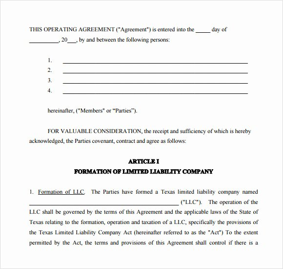 Operating Agreement Template Word Unique 13 Sample Operating Agreements Pdf Word