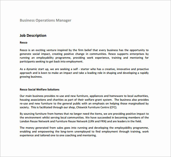 Operations Manager Job Description Template Awesome 9 Operations Manager Job Description Templates