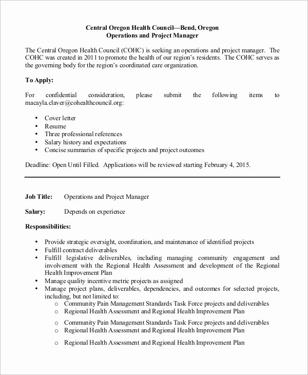 Operations Manager Job Description Template Best Of Sample Operations Manager Job Description 9 Examples In Pdf