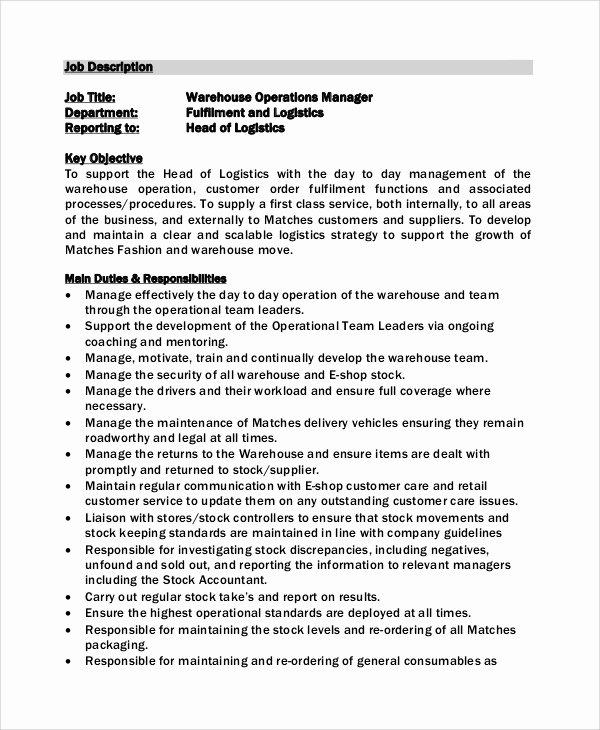 Operations Manager Job Description Template Best Of Sample Warehouse Manager Job Description 10 Examples In